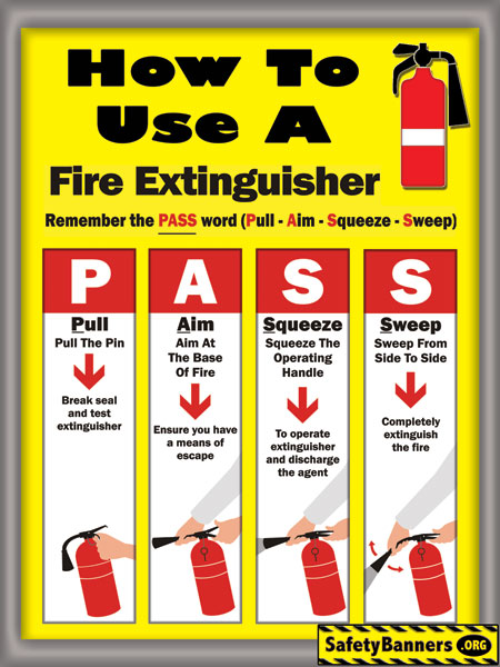 FREE PASS Fire Extinguisher Use Poster
