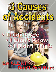 Three Causes of Accidents Workplace Safety Poster item 1025
