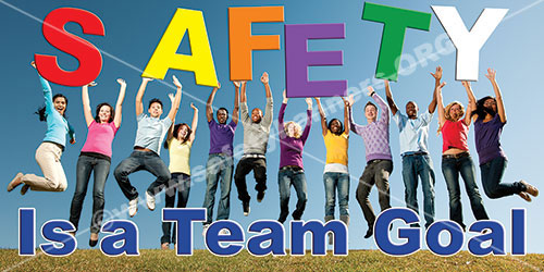 Safety Is A team Goal workplace safety banner item 3016